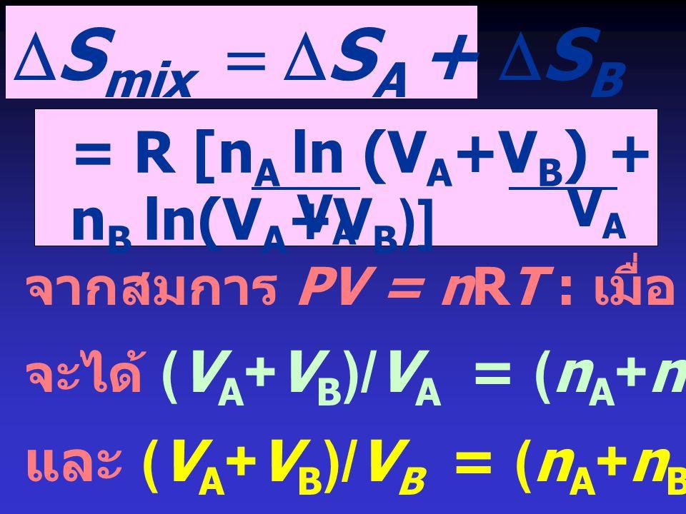 DSmix = DSA + DSB = R [nA ln (VA+VB) + nB ln(VA+VB)]